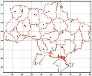 Расположение исходных пунктов при моделировании референцной системы