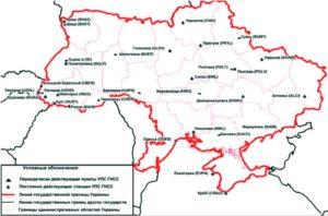 Схема размещение пунктов УПМ ГНСС по состоянию на конец 2011 г.