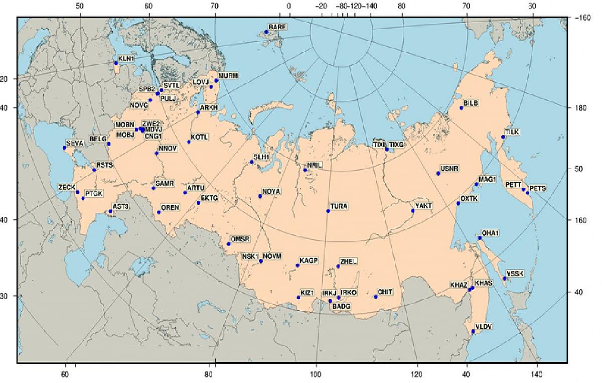 геодезическая сеть россии карта